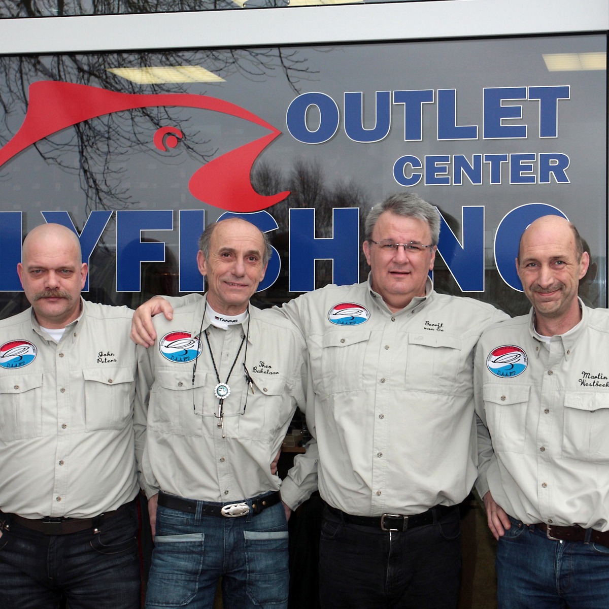 Fliegenbinder John Peters, Theo Bakelaar, Gerrit van Ee und Martin Westbeek