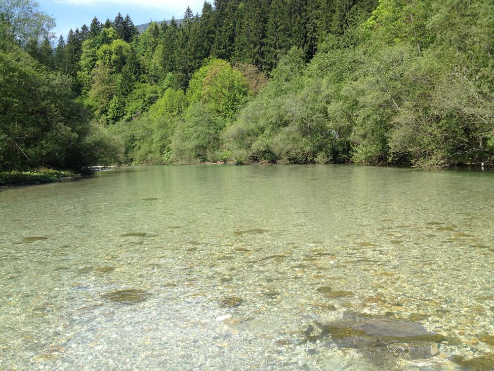 Glasklares Wasser im Fluss in Slowenien