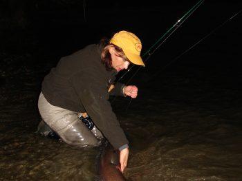Mirjana Pavlic beim Fliegenfischen auf Huchen